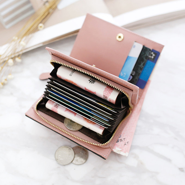 11 Card Slots Women PU Leather Minimalist Elegant Wallet Casual Card Holder Purse Clutch Bag