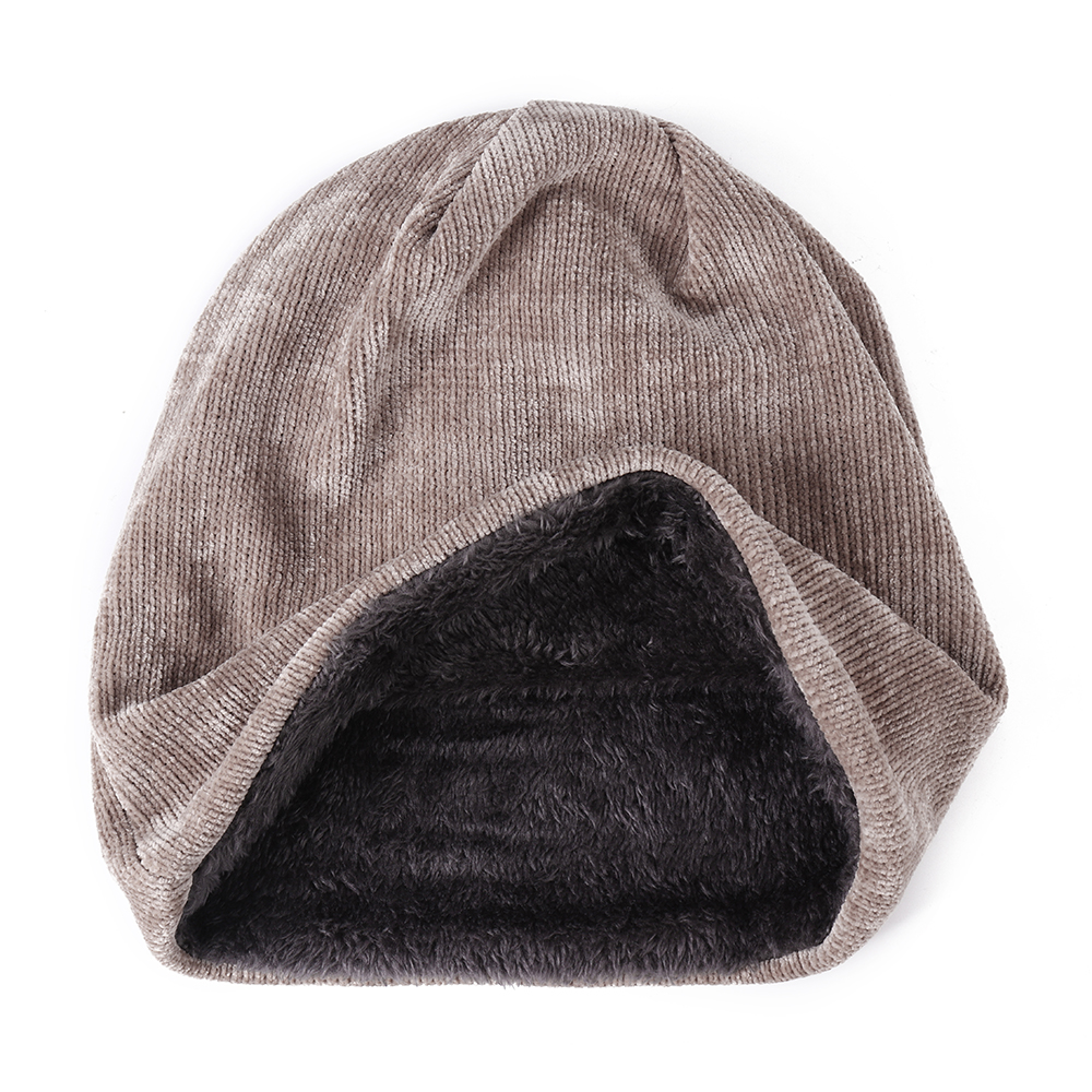 Men Women Winter Corduroy Double Layers Beanie Hat Skullcap