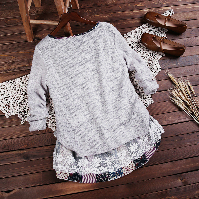 Sweet Lady Floral Lace Stitching Knit Blouse