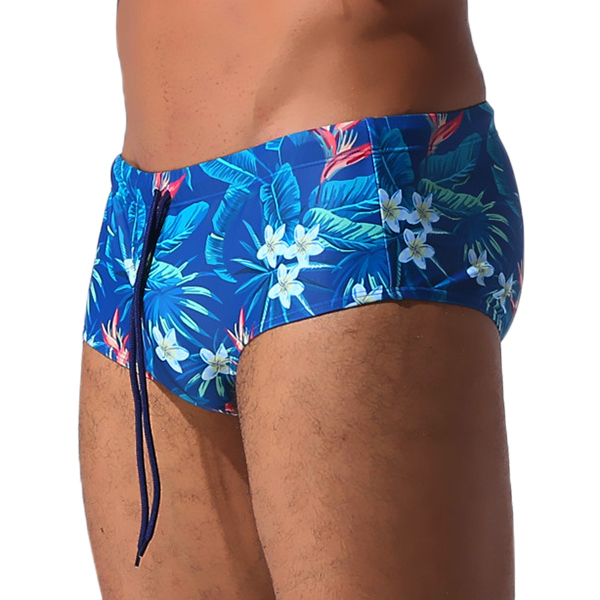 ESCATCH Sexy Bikini Swim Trunks Beach Sport Stripe Floral Printing Drawstring Swimwear for Men