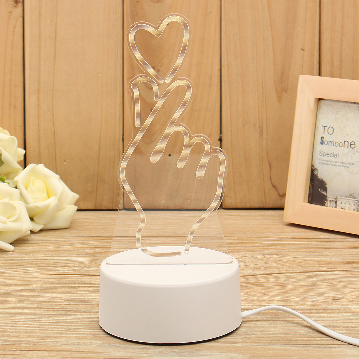 3D Love Heart Gesture LED Night Light Table Lamp Button Switch Room Decor Gift