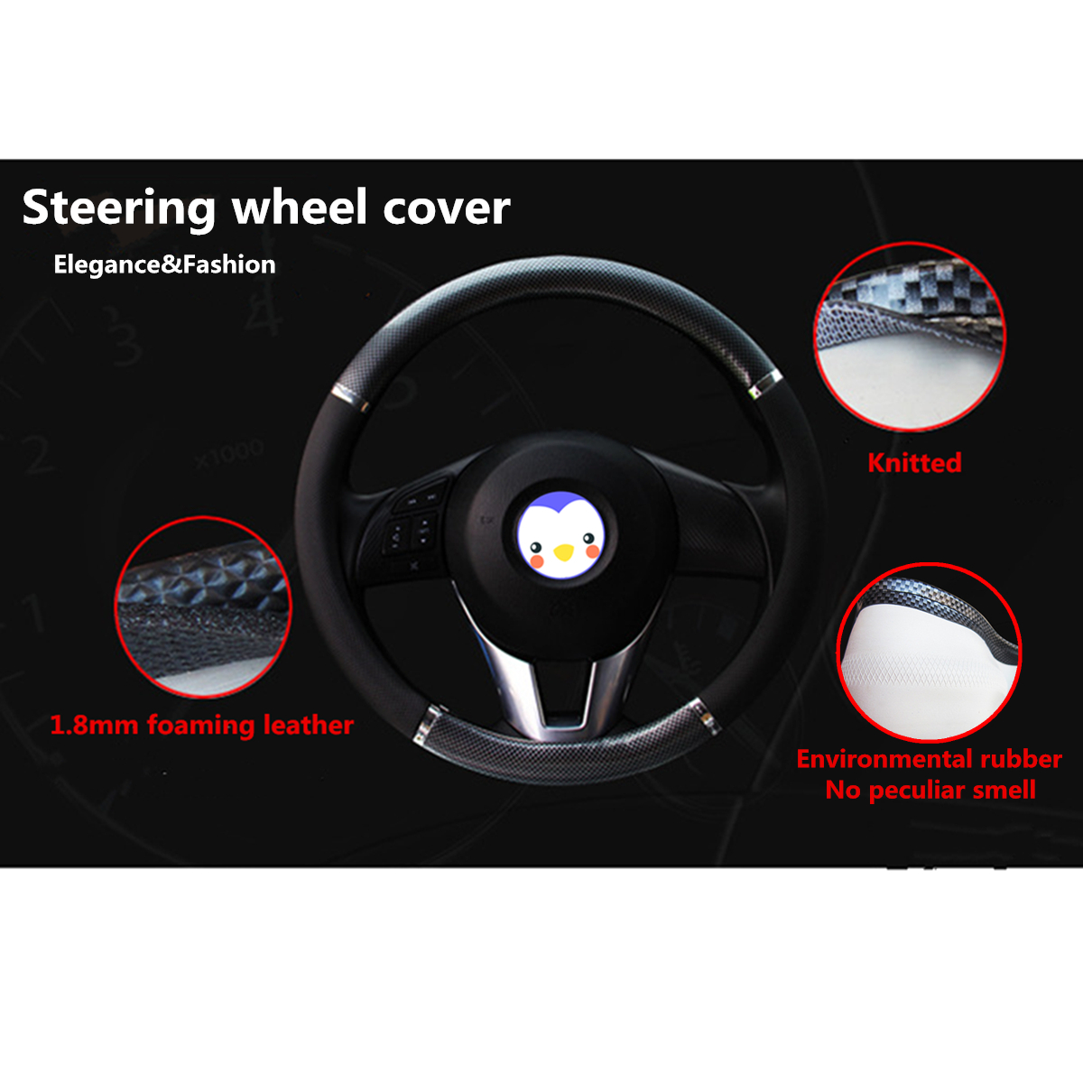 38cm Universal Breathe Carbon Fiber Leather Car Steering Wheel Cover