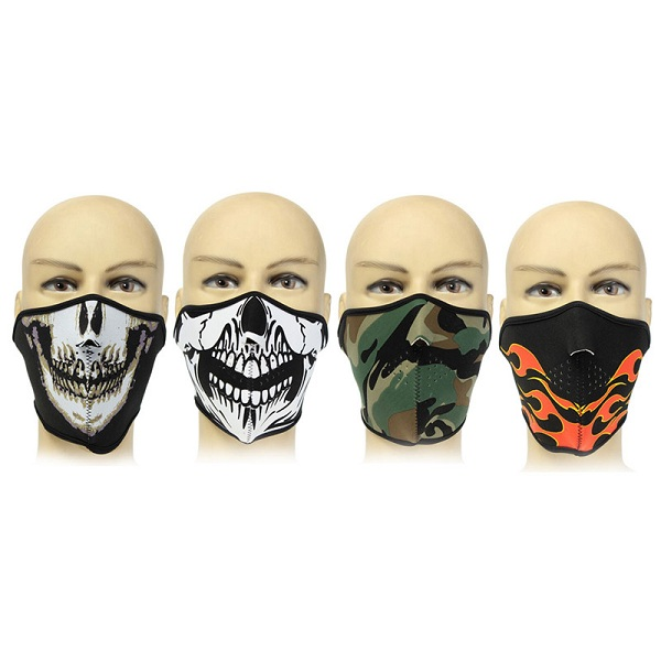 Neoprene Half Face Reversible Biker Skateboard Motor Skull Mask Ghost CS Hunting Mask