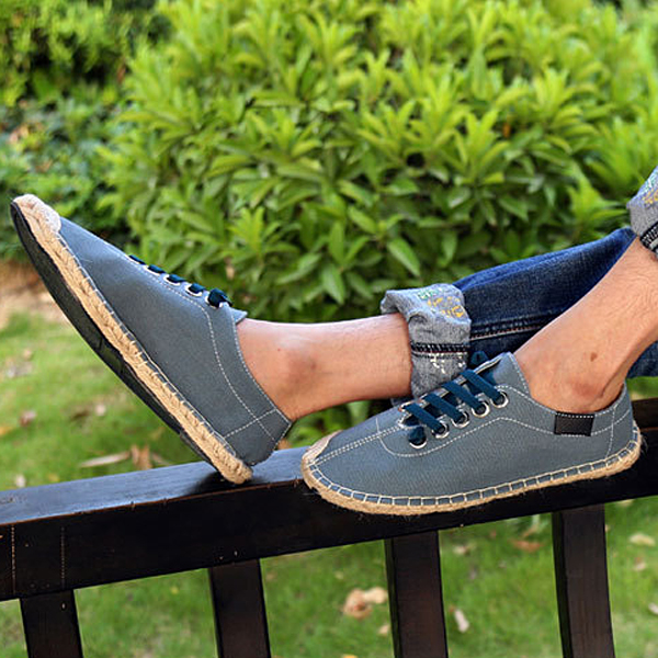 US Size 5-13 Women Shoes Fashion Canvas Straw Lace Up Flat Outdoor Casual Comfortable Loafer Shoes