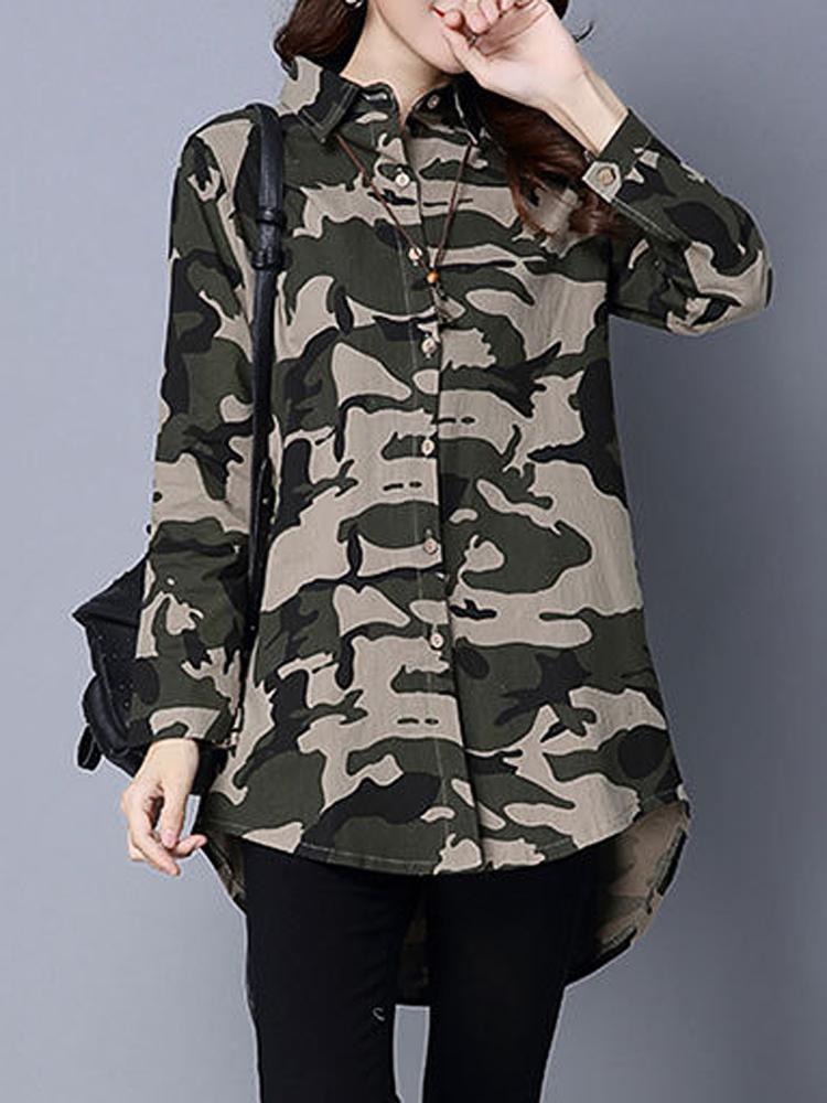 Casual Camouflage Lapel Long Sleeve Loose Women Basic Shirt