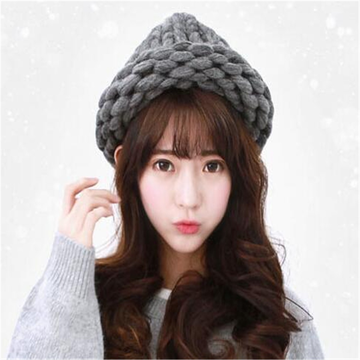 Womens Ladies Chunky Knit Crochet Beanie Hat Ski Triangle Stereo Bonnet Dome Cap