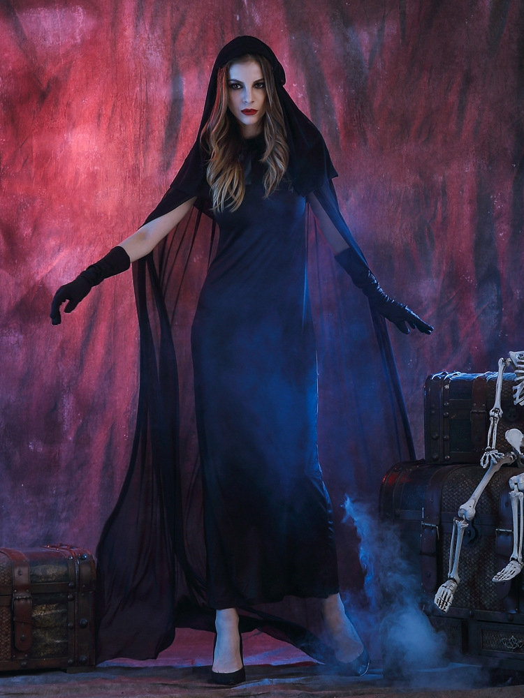 Black Devil Vampire Cosplay Costume Women Halloween Cloak Dress Clothing
