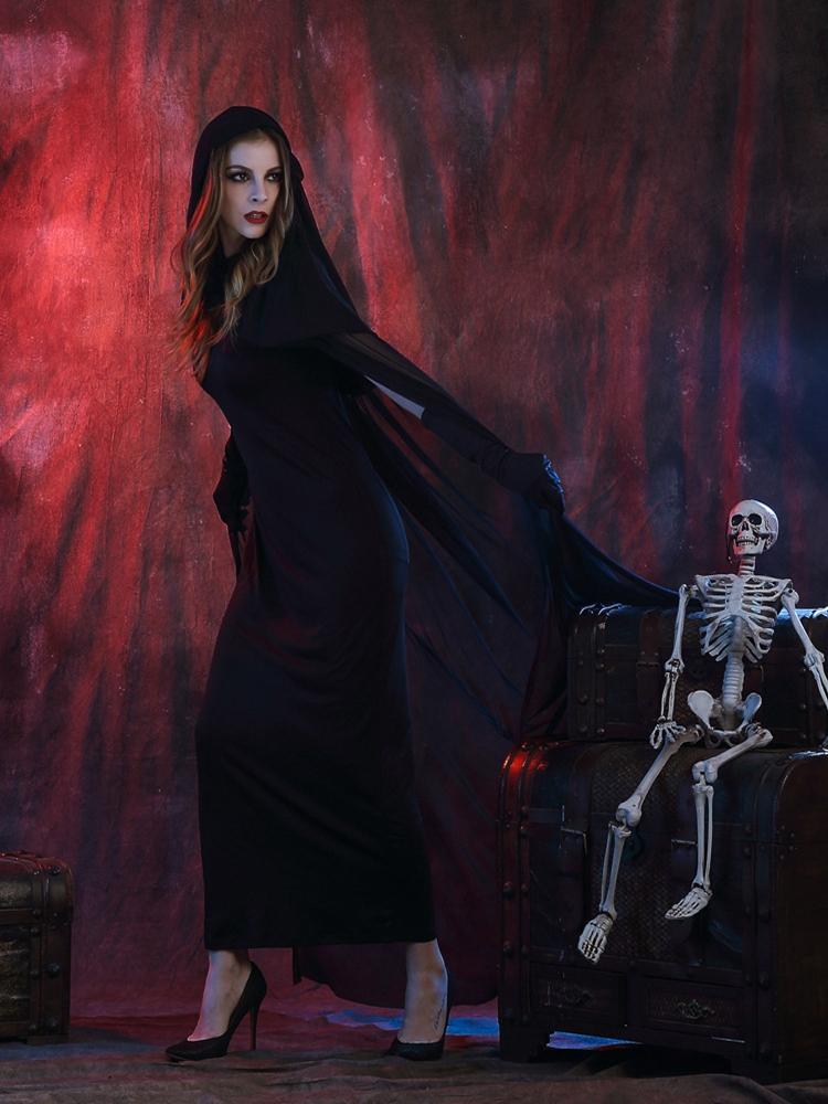 Black Devil Vampire Cosplay Costume Women Halloween Cloak Dress Clothing