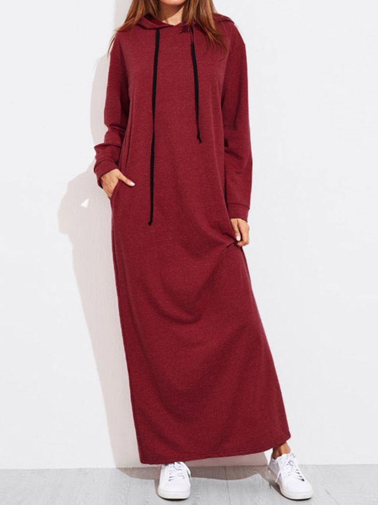 Women Solid Color Hooded Sweatshirt Dress