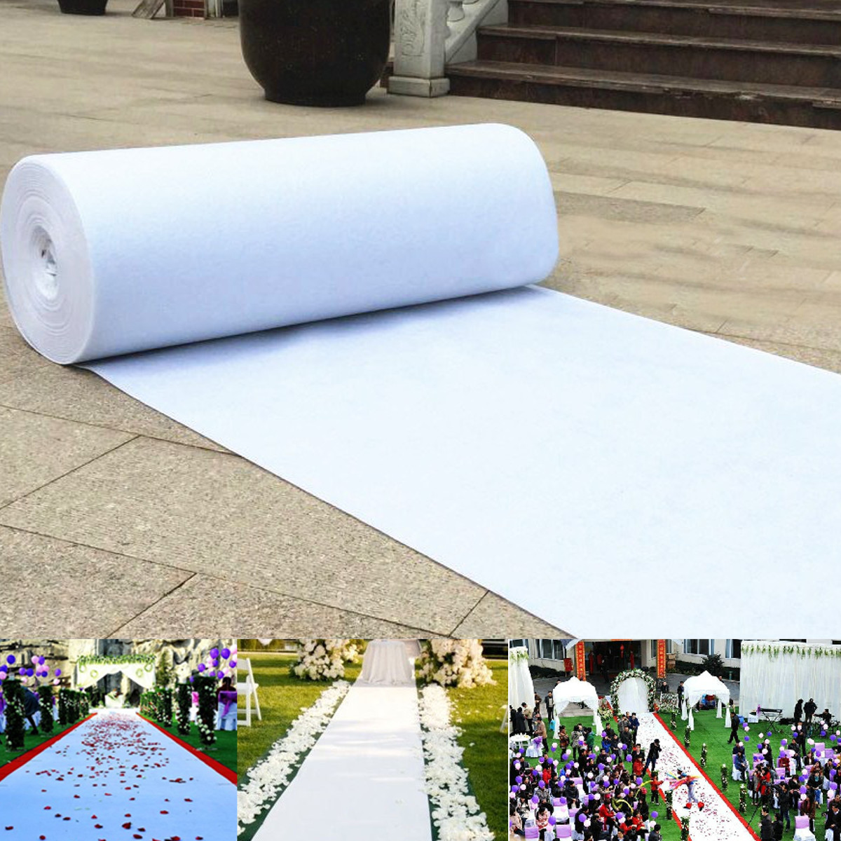 White Wedding Carpet Aisle Runner Floor Marriage Ceremony Bride Event 5 Sizes