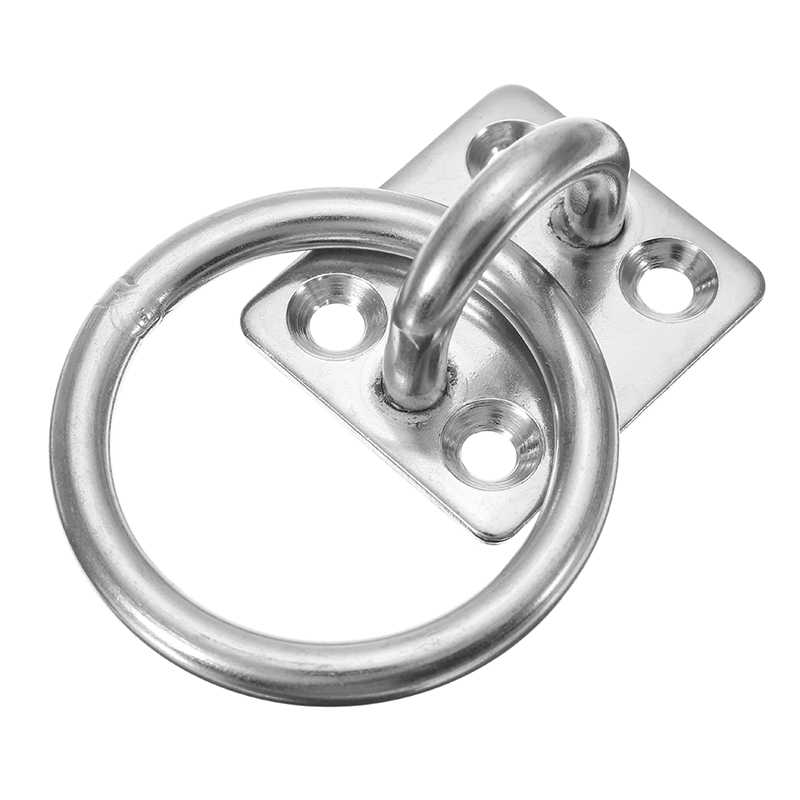 6mm 304 Stainless Steel Pad Eye Plate with Round Ring Marine Boat Hardware
