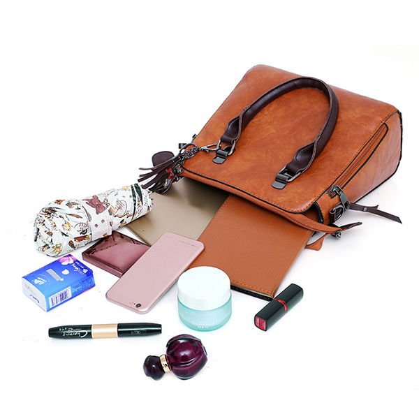 4 PCS Women Faux Leather Handbag Crossbody Bag