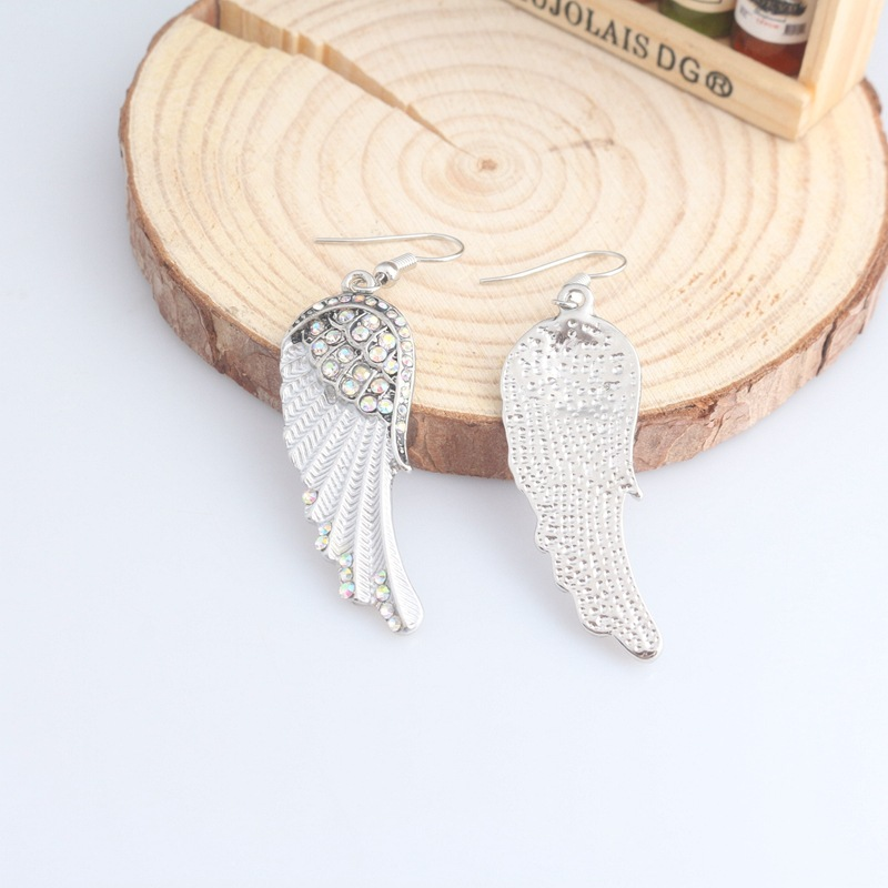 Cute Women's Earrings Angel Wings Rhinestone Alloy Earrings