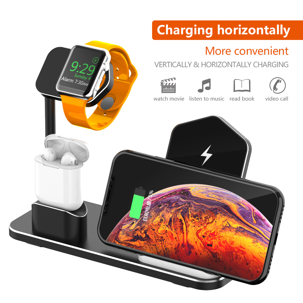 3 In 1 10W Qi Wireless Charger Charging Dock Station Stand Holder Phone Holder Watch Holder For iPhone Samsung Apple Watch Series Apple AirPods