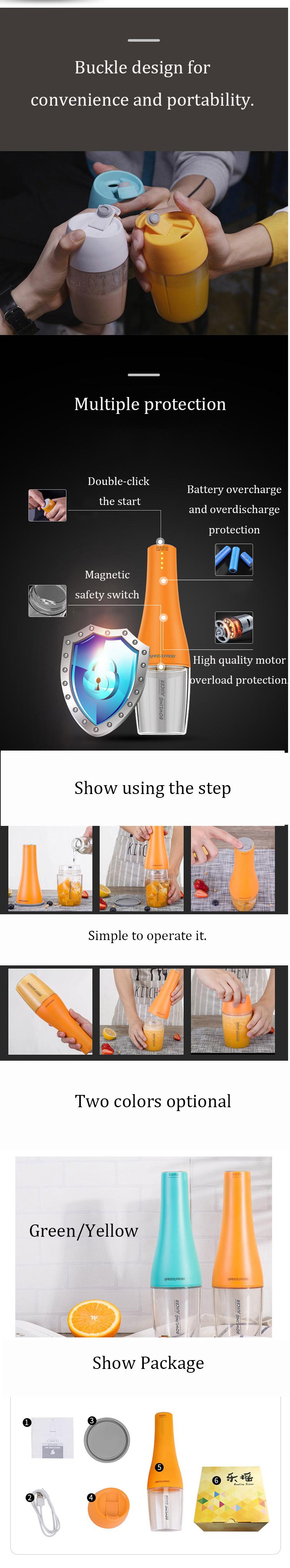 IPRee® 350ml 80W Portable USB DIY Bowling Juicer Machine Fruit Juicing Extractor Cup Shake Blender Bottle