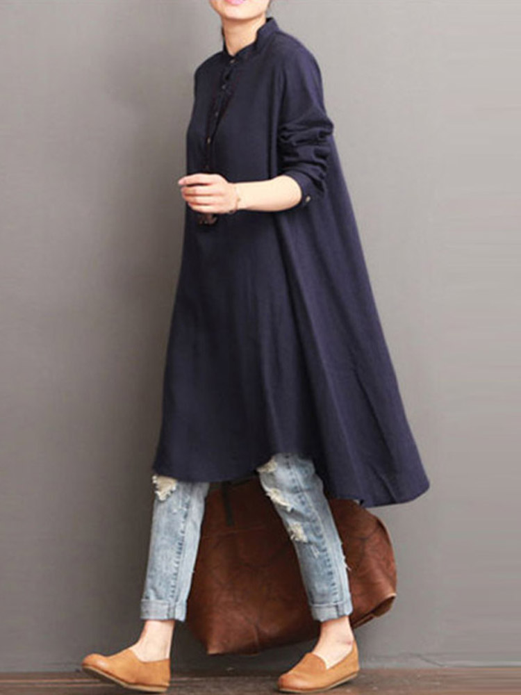 Women Button Down Baggy Blouse Loose Asymmetric Dress