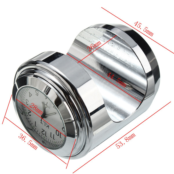 7/8inch 1inch Motorcycle Handlebar White Dial Clock Thermometer Universal Waterproof