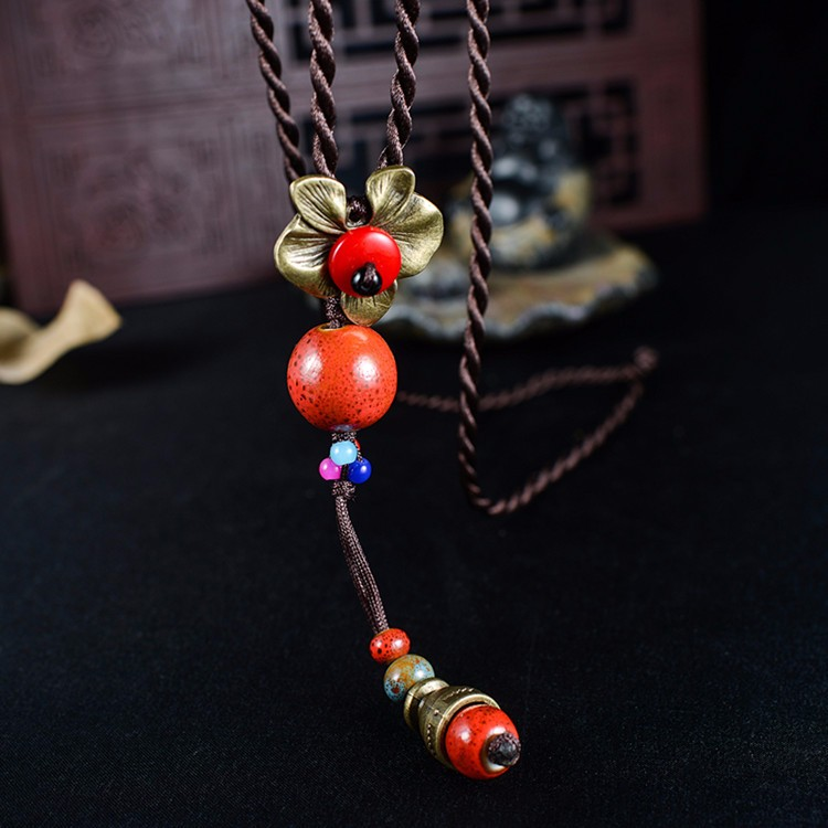 Retro Rope Flower Ceramic Beads Pendant Necklace Jewelry