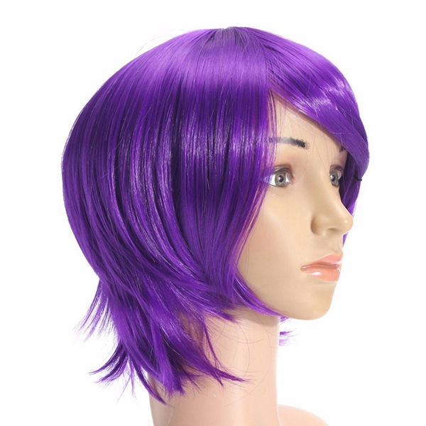 Unisex Anime Purple Short Full Wig Cosplay Party Straight Hair Full Wigs High-temperature Hairpiece
