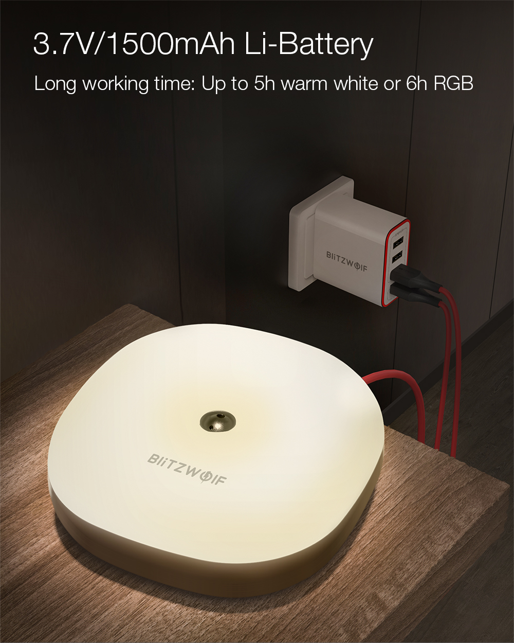 BlitzWolf® BW-LT18 Smart Gesture Control Sensor LED Night Light RGB Dimmable Bedside Ambient Lamp