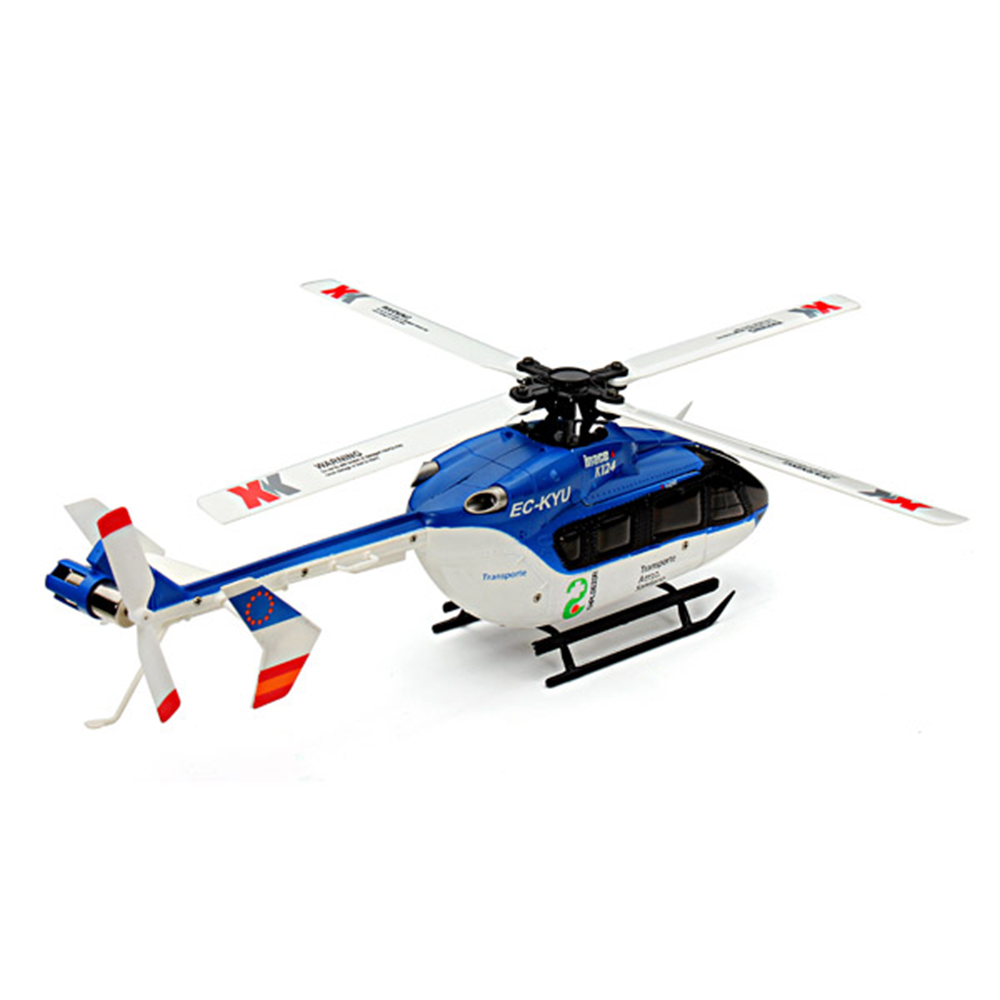 XK K124 2.4G 6CH Brushless EC145 3D6G System RC Helicopter 4PCS 3.7V 700mAh Lipo Battery Version Compatible With FUTAB-A S-FHSS