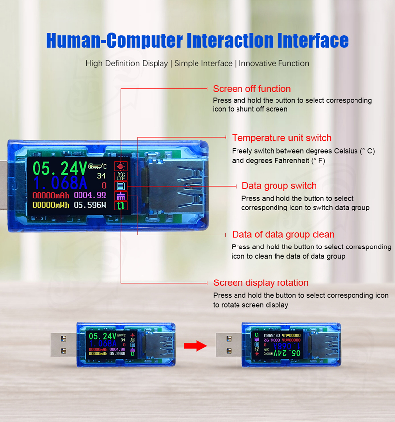 RUIDENG AT34 USB3.0 IPS HD Color Screen USB Tester Voltage Current Capacity Energy Power Equivalent Impedance Temperature Tester 30.00V 4.000A