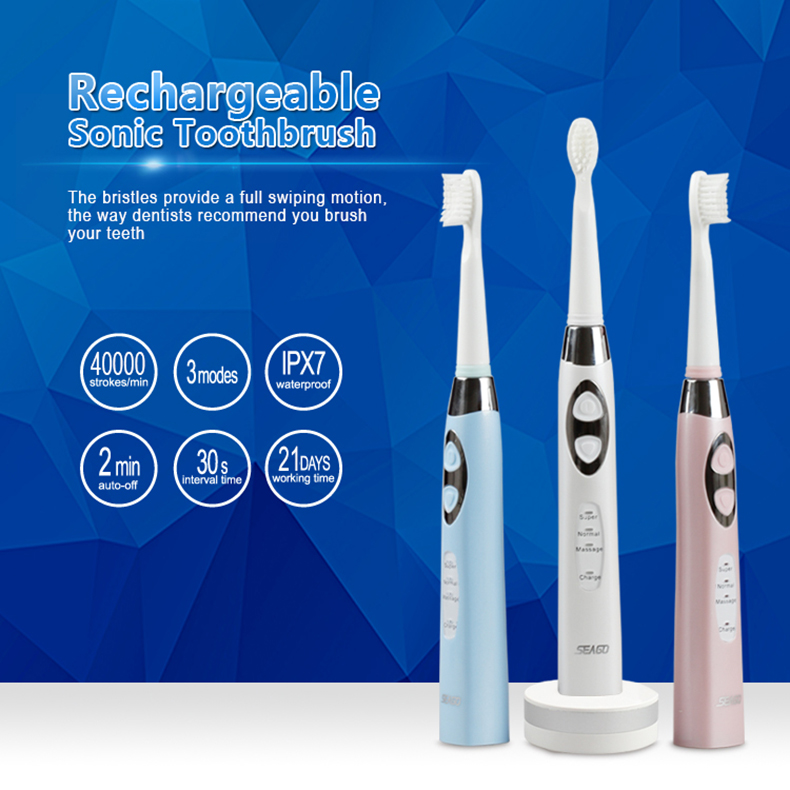 SEAGO E6 Sonic Smart Electric Toothbrush 3 Brush Modes Whitening USB Wireless Rechargeable IPX7 Waterproof with 3 Replaceable Brush Heads