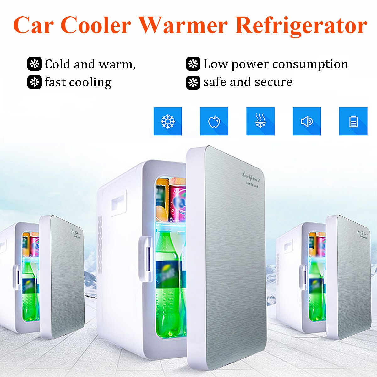 20L Portable Mini Car Refrigerator Cooler Warmer Dual-use Fridge Box for Car Home