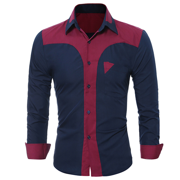 Mens Fashion Patchwork Color Casual Slim Stitching Chest Pocket Designer Shirts