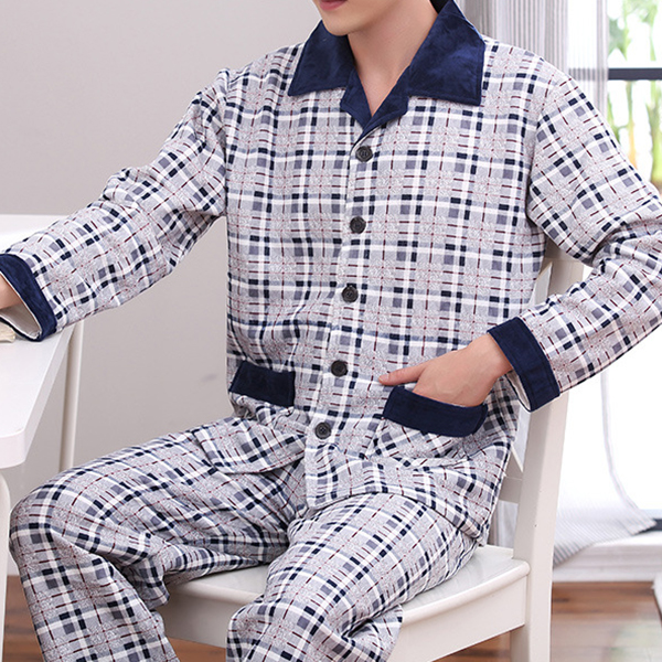 Comfortable Warm Plaid Casual Home Sleeping Pajamas Suit