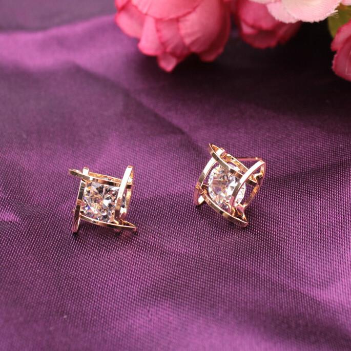 Trendy Square Cross Zircon Earrings For Women