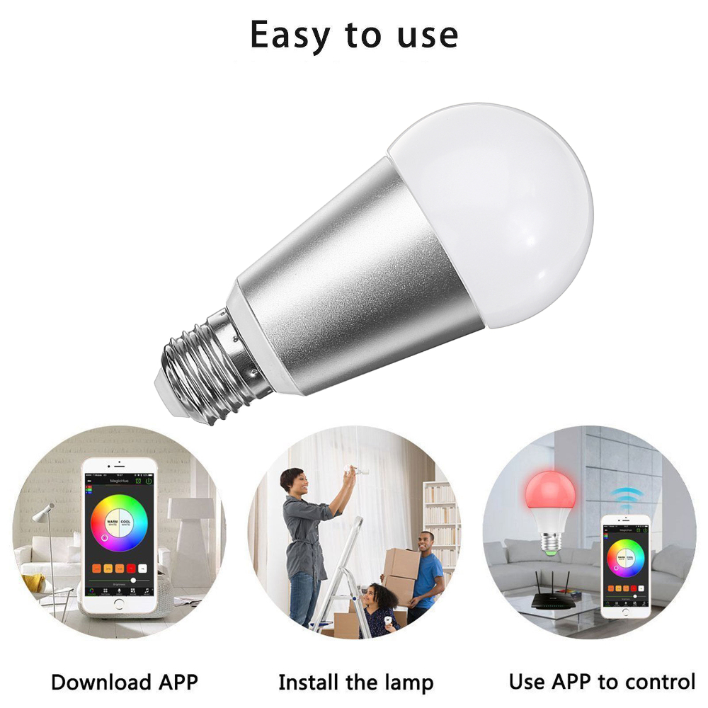 E27 7W RGBW WiFi APP Control Smart Light Bulb Work with Alexa Google Home AC110-240V