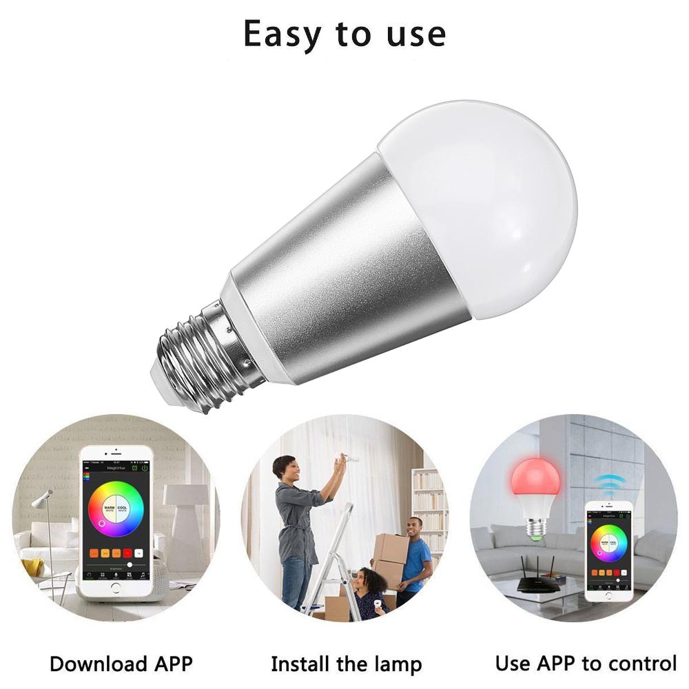 e27 7w rgbw wifi app control smart light bulb work with alexa google home ac110 240v. Black Bedroom Furniture Sets. Home Design Ideas