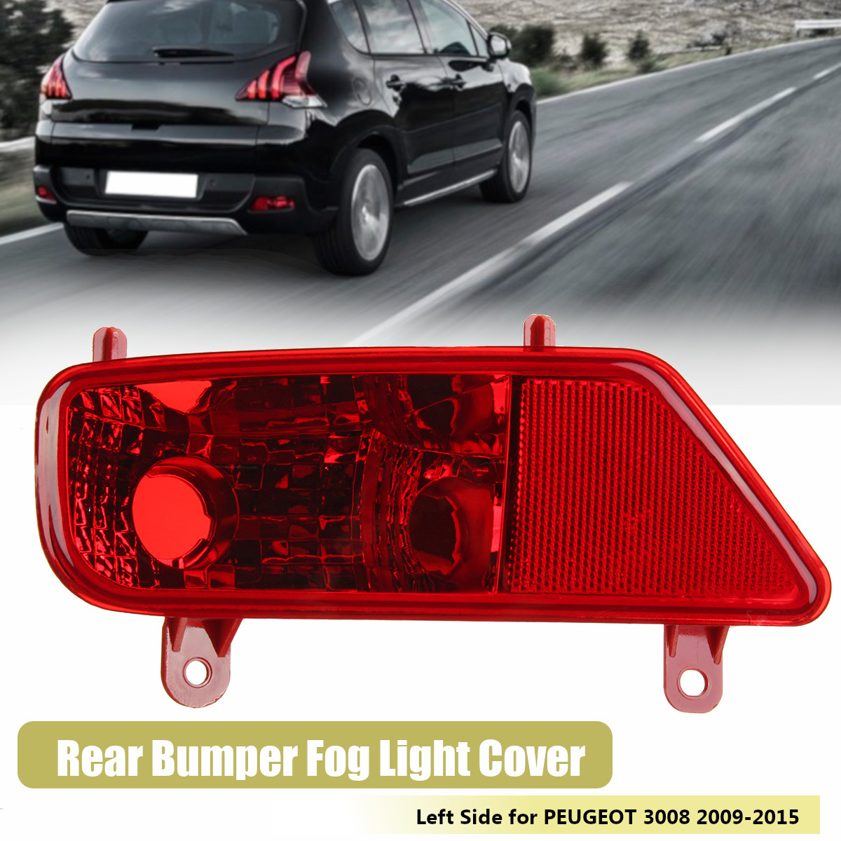 Left Rear Bumper Fog Light Lamp Cover Passenger Side for PEUGEOT 3008 2009-2015