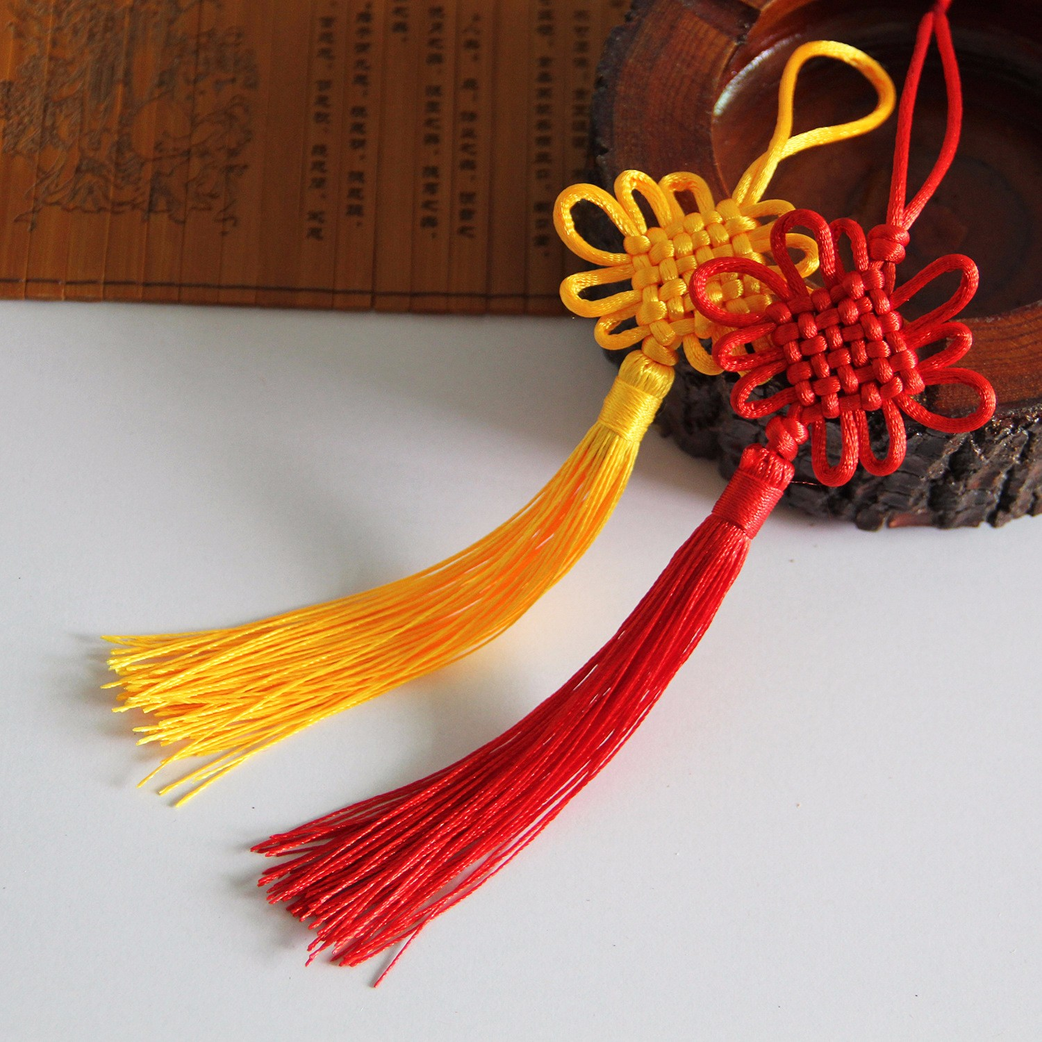 21X5.5CM Yellow Chinese Knot Silk Line Hanging Home Decoration Chinese New Year Gift