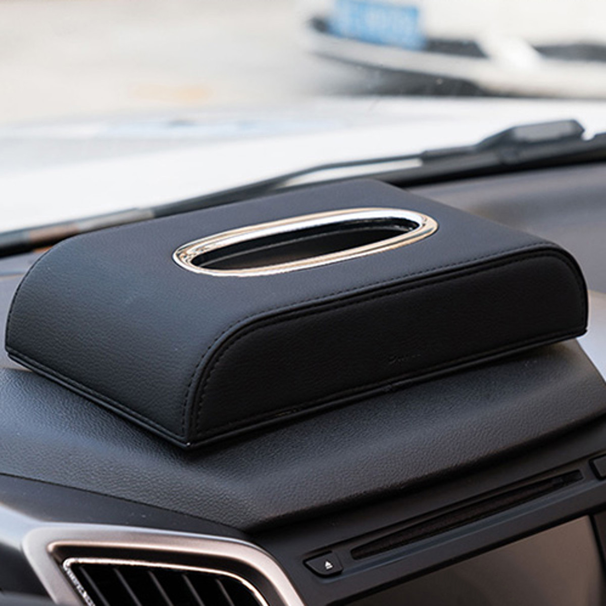 Car Black PU Leather Tissue Box Napkin Pumping Paper Portable Home Office Paper Holder Case
