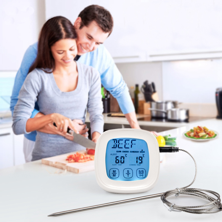 2 in 1 Touchscreen Thermometer Kitchen Timer with Oven 2 Probes Food Kitchen Cooking Thermometer