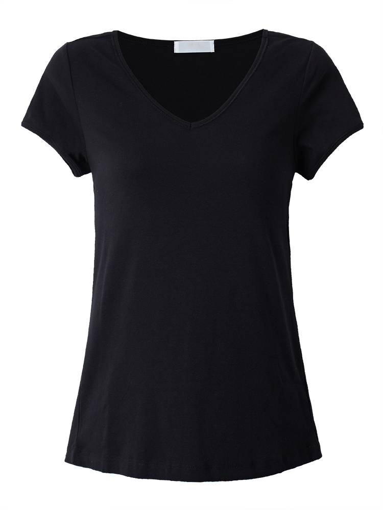 Casual Slim Women Stretch Solid Color V Neck Bottom T-Shirt