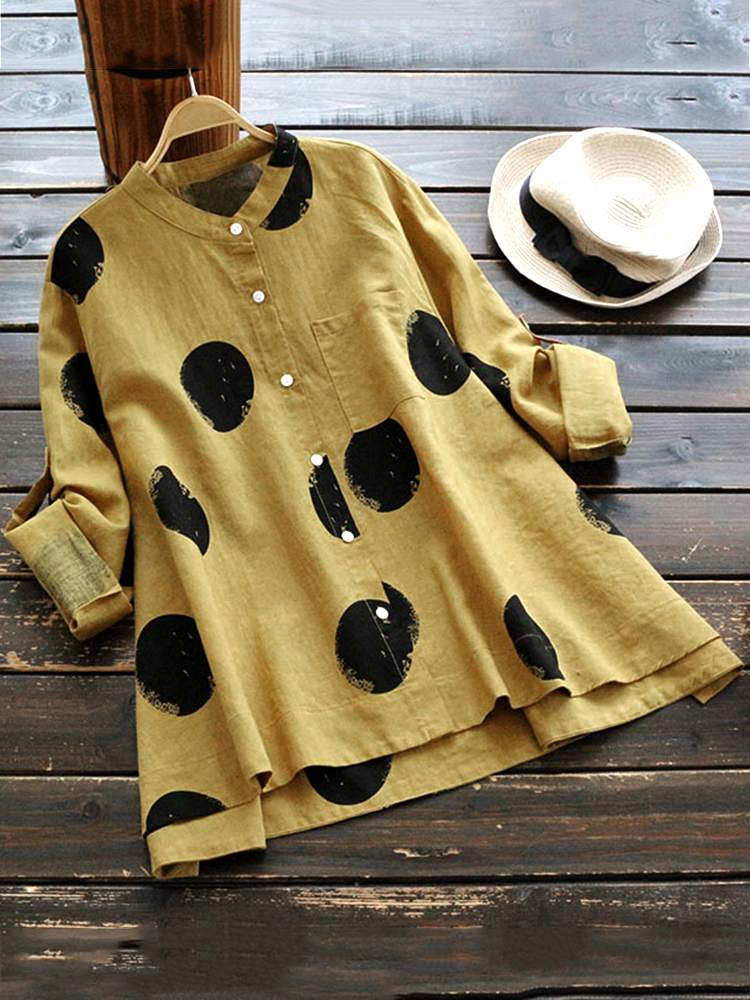 Casual Polka Dot Stand Collar Blouses