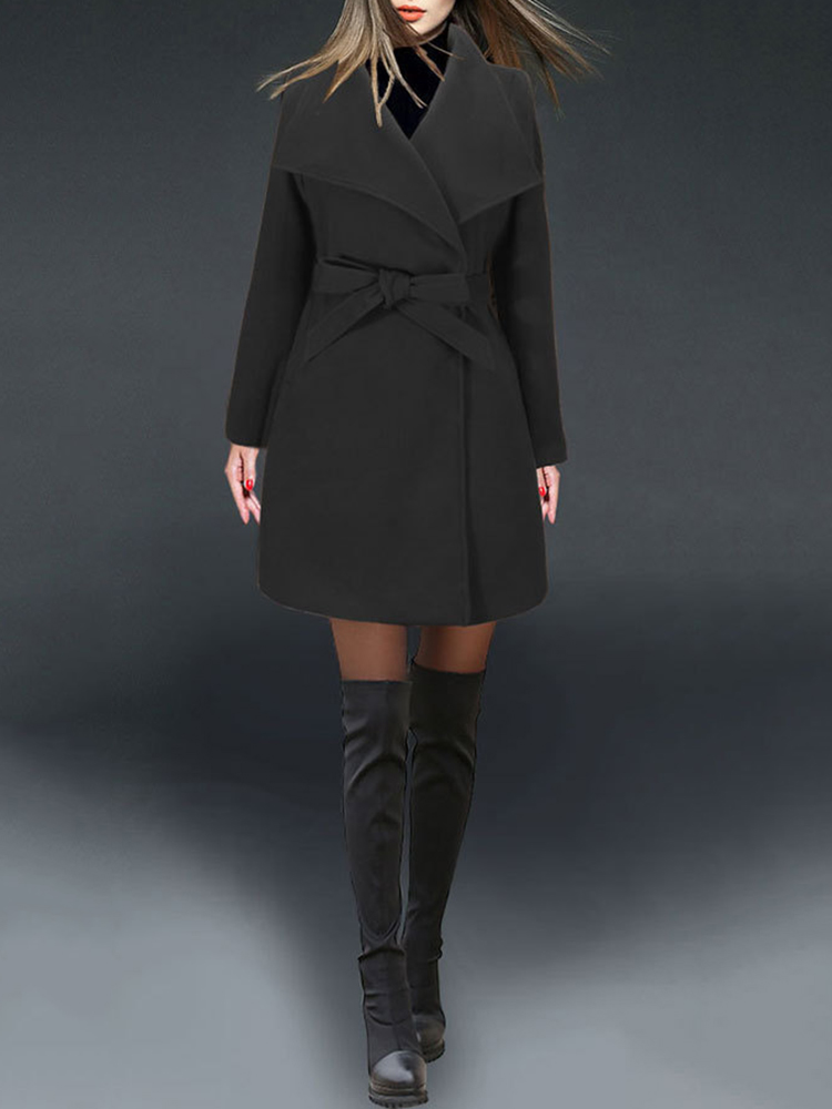 Pure Color Turn-Down Collar Wool Coats