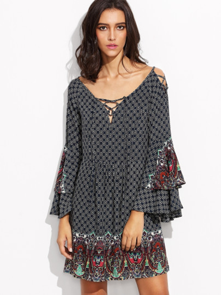 Bohemian Women V-Necklace-Up Bell Sleeve Rayon Printed Minidresses