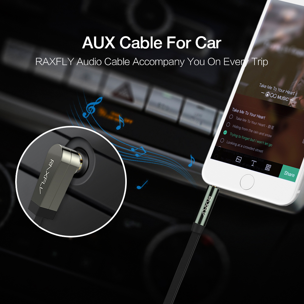 RAXFLY 3.5MM Male to Male 90 Degree Right Angle Audio AUX Cable 1m For iPhone X 8Plus Oneplus5 Car S