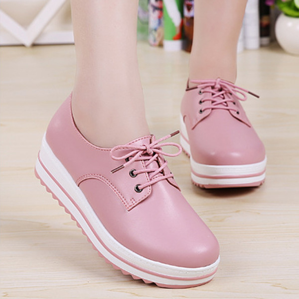 Lace Up Platform Heels Sneakers Round Toe Soft Sole Shoes