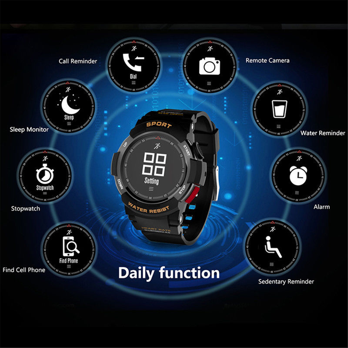 Bakeey F6 Heart Rate Monitor IP68 5ATM Multi-sport Long Standby Fitness Tracker Message Smart Watch