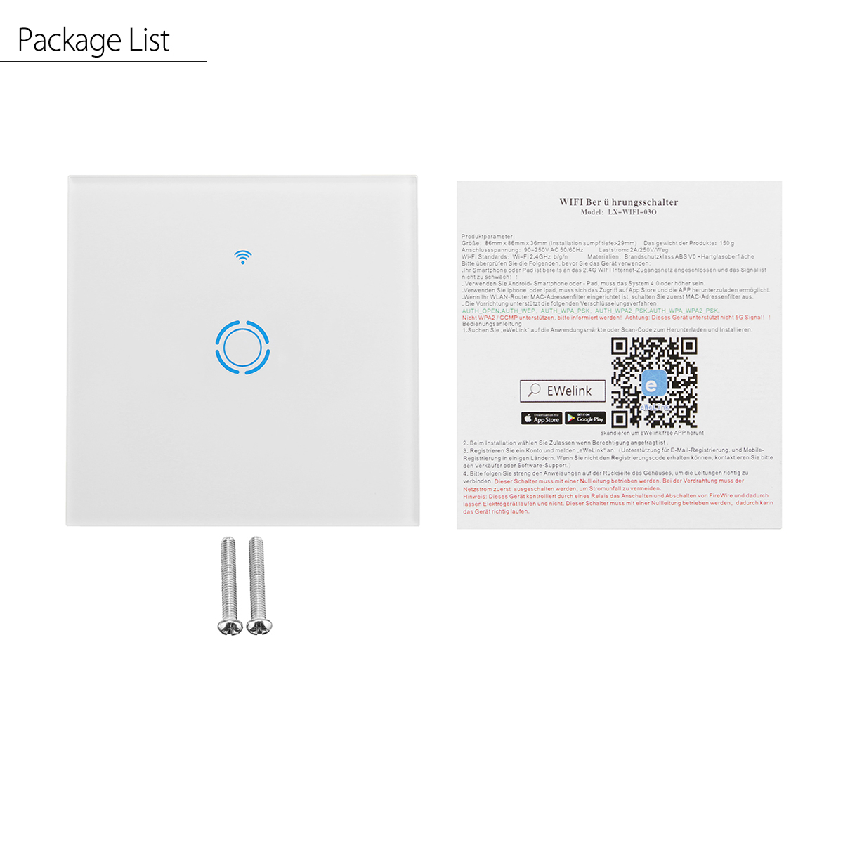 90-250V Smart Panel Switch Touch Wall Switch APP Remote Controller Fit Echo Alexa Google Home EU