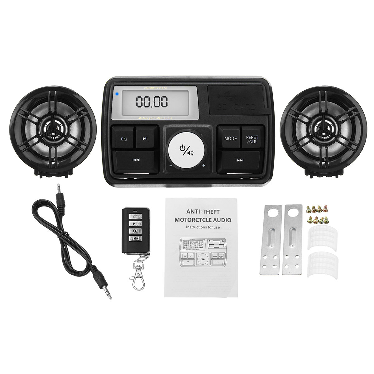 Waterproof Motorcycle Audio Sound System Stereo Speaker MP3 Radio USB With bluetooth Function