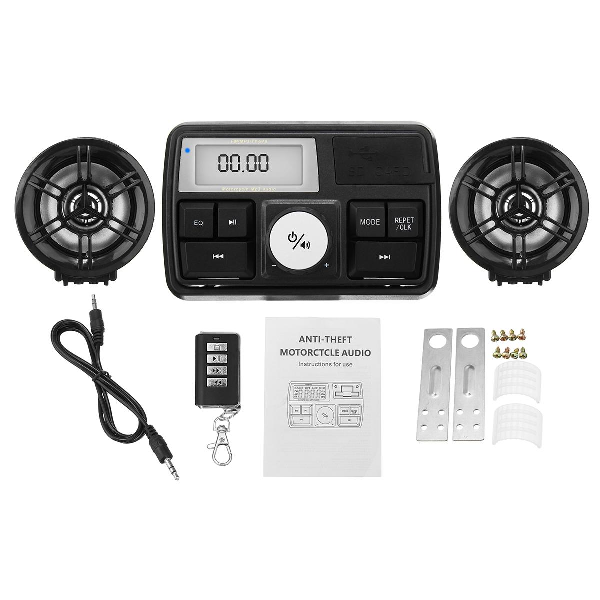 Impermeable Moto Audio Sistema de sonido Altavoz estéreo MP3 Radio USB con función Bluetooth