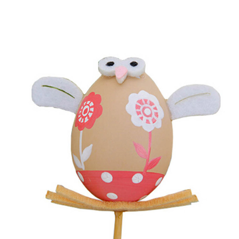 1Pcs Funny DIY Chick Design Plastic Coloring Painted Easter Egg With Stick For Easter Decorations Kids Gifts Toys Festival For Easter Home Party Favors