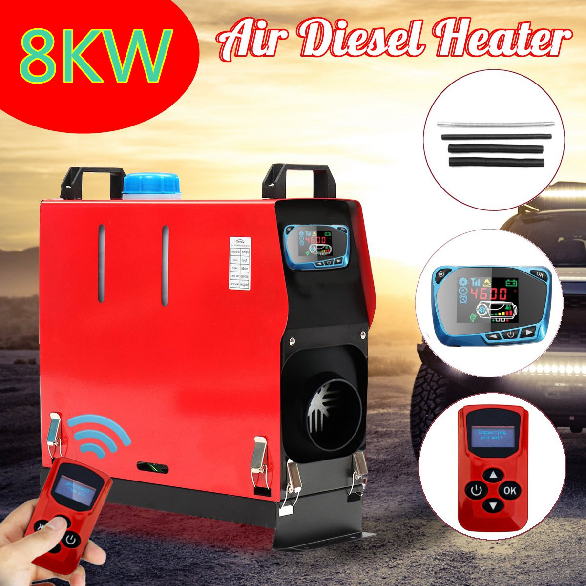 5KW/3KW 12V Air Diesel Heater Host w/LED Key Remote Controller Air Filter Oil Pump