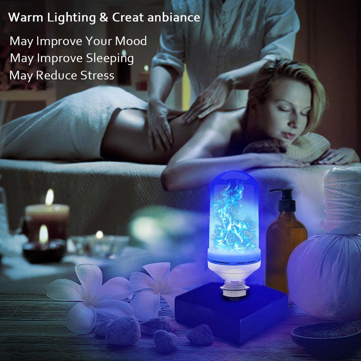 AC85-265V 4 Modes E27 Blue LED Flicker Flame Light Bulb Simulated Burning Fire Effect Festival Lamp